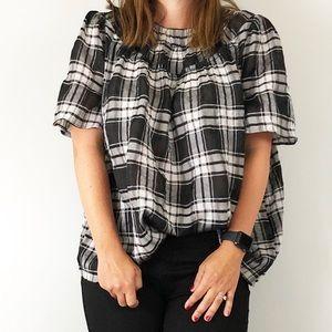 Ann Taylor | L | black & white plaid blouse
